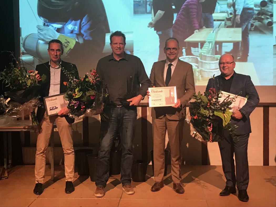 Van links naar rechts: Casper Willems van CPT, Marcel Keezer van Cryoworld, wethouder Theo Meskers en Richard Meester van Quest Innovations.